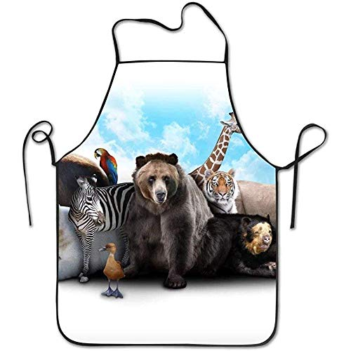ouyjian Aprons for Sale Elephant Zebra Bear and Rhino Zoo Friends Deluxe Cute Aprons Chef Kitchen Cooking and Men & Women Baking Bib BBQ Apron - Sale Zebra