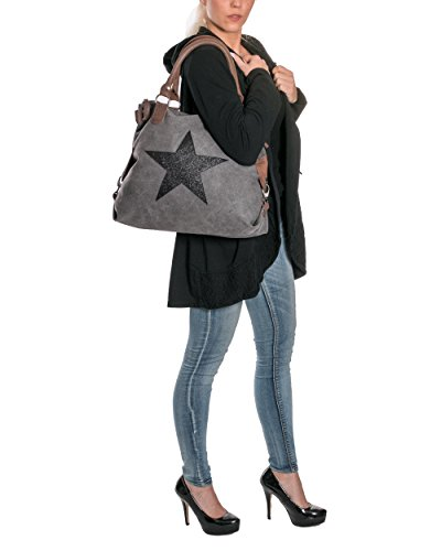 Donna Borsa a tracolla con stella di tela con pelle combinazione extra lunghe Manico per la spalla borsa a tracolla borsa con manici GRIGIO/Verde 040905