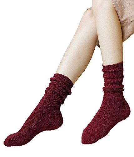 Zando morbida lana multicolore da donna a maglia piatta cuscino accogliente comfort calzini Burgundy Taglia unica