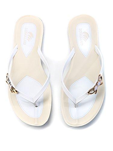 LONGCLASS edle Damen Flip Flops PRINCESSA, leichte Sandalen Sandaletten für den Sommer mit Absatz, bequeme Zehentrenner Badeschuhe mit dicker stabiler Gummi Sohle zum Baden Relaxen, schwarz weiß Weiß
