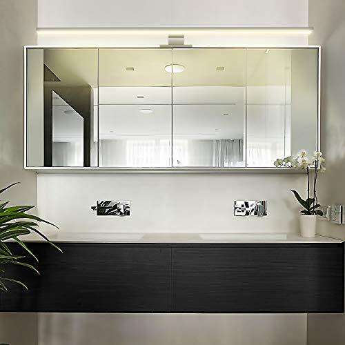 Luz de Espejo LED de 8W, Cromado, 60cm, Blanco Cálido (3000K), 600LM, 48x2835SMDs, Aplique de Pared de Lámpara de pared de Lámpara de Baño CRI> 80 [Clase de Eficiencia Energética A +]