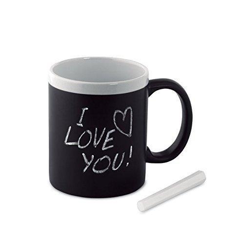 Schwarzer Keramik-Tafel-Becher-Tasse zum Bemalen und Beschriften mit Kreide - mit Tafelkreide - weißer Rand (Tafel-becher)