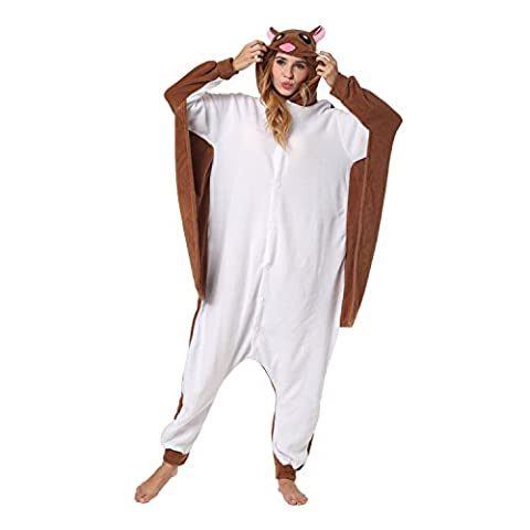 Katara 1744 -Flughörnchen Kostüm-Anzug Onesie/Jumpsuit Einteiler Body für Erwachsene Damen Herren als Pyjama oder Schlafanzug Unisex - viele verschiedene Tiere