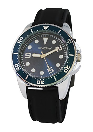 nine2five aatt07ngaz Hombres de negro banda de silicona auténtica esfera azul reloj
