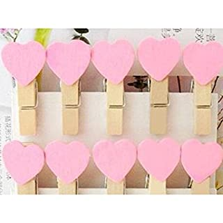 AUAUDATE 10/50/100Pcs Wooden Heart Pegs Clothespins Mini Clip Kid Craft Party Picture Decoration Heart Wooden Peg (10x, Pink)