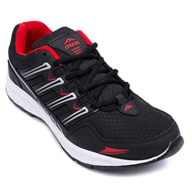 ASIAN Wonder-11 Black Red Running Shoes,Gym Shoes,Walking Shoes,Training Shoes,Sports Shoes for Men UK-10