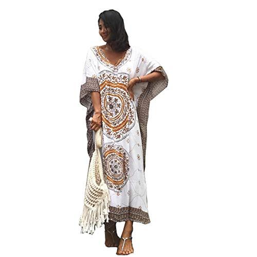 xihongshi Frauen Europa und die Vereinigten Staaten Kreis gedruckt Baumwolle Langen Urlaub Rock lose große Strandkleid B -