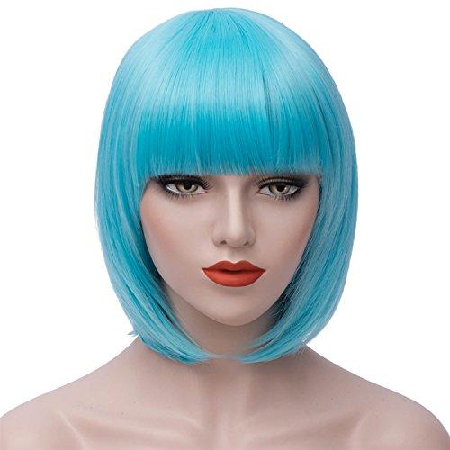 Milrüme Kurze Bob Blau Haar Perücken Gerade mit Flach Pony Synthetische Bunte Cosplay Tägliche Party Perücke für Frauen Natürliche Wie Echthaar 12 Zoll (Kurze Blaue Perücke)