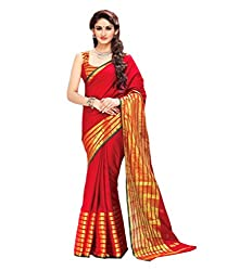 Glory Sarees Women's Poly Cotton Ethnic Wear Saree (jari108_red)