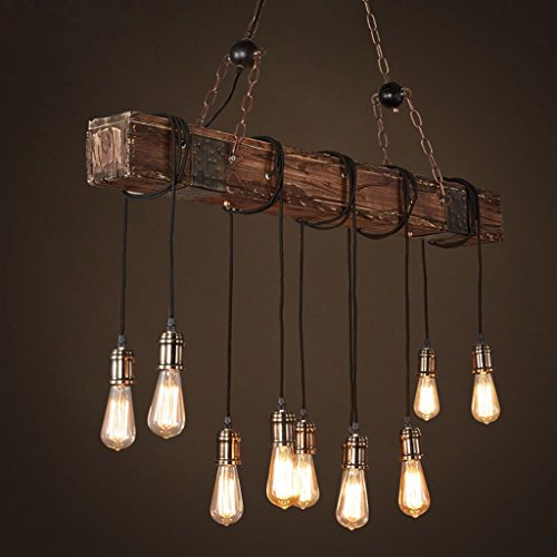 Holz Pendelleuchte Bauernhaus Stil Dark Distressed Holzbalken Große Linear  Island Pendelleuchte 10 Licht Kronleuchter Beleuchtung