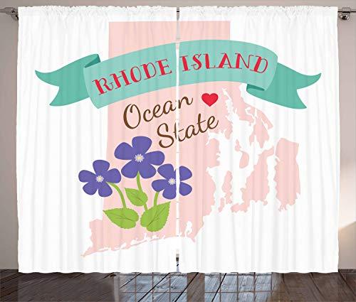 ABAKUHAUS Rhode Island Rustikaler Vorhang, Retro Design Staats-Karte, Wohnzimmer Universalband Gardinen mit Schlaufen und Haken, 280 x 175 cm, Mehrfarbig