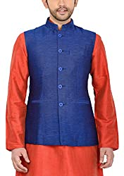 Manyavar Mens Banded Collar Blended Jacket (8903035290755_WC00042-306_38_Dark Blue)