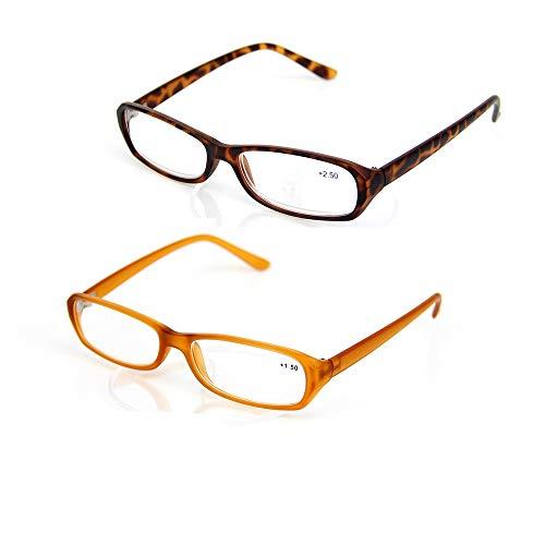 2 paket Schildpatt Lesebrille Presbyopie Brillen Ältere Brille Retro Klassische Leichte Komfortable Tragbare Brillenleser für Frauen und Männer,2.0