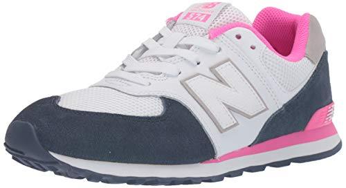 New Balance Mädchen 574 Sneaker, Weiß White/Navy, 35.5 EU -