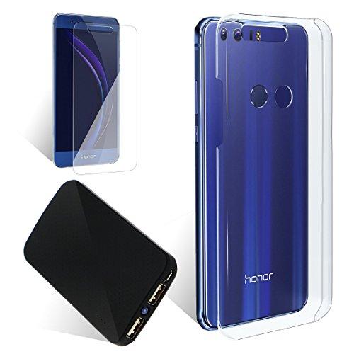 Coque de protection transparente pour HONOR 8 + Film protecteur verre trempé dédié + Batterie externe Powerbank 3000 mAh - Pack Exopack Liberté 3en1