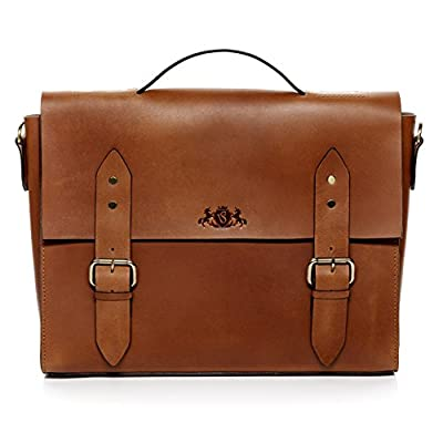 "SID & VAIN Serviette Ordinateur Cuir véritable 15.6"" Boston Cartable Porte-Document attaché-Case Grand Homme Sac bandoulière Travail"