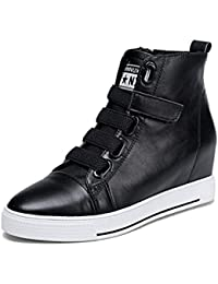 SHOWHOW Damen Durchgängiges Plateau Low Top Schnürsenkel Sneakers Schwarz 36 EU