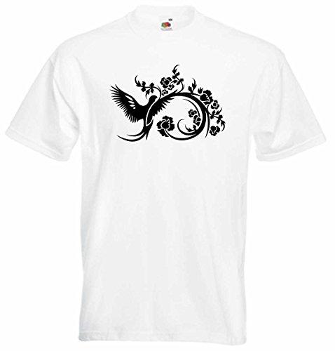 T-Shirt D037 T-Shirt Herren schwarz mit farbigem Brustaufdruck - Tribal / Pappagei / Ranke Schwarz