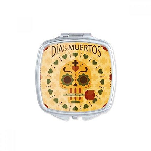 DIYthinker Rose del cráneo Feliz El día de los Muertos México Culture Square Maquillaje Compacto Espejo de Bolsillo portátil pequeño Linda Mano Espejos Regalo