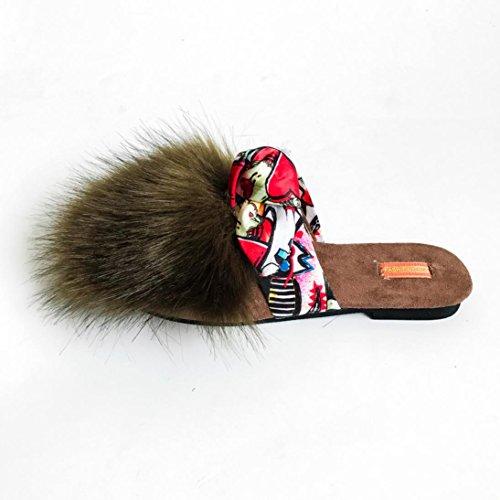 Chaussures Femme, Rawdah Claquette Mules Faux Fur Flat Bowknot Shoes Hiver Fluffy Slipper Flip Flop Vert