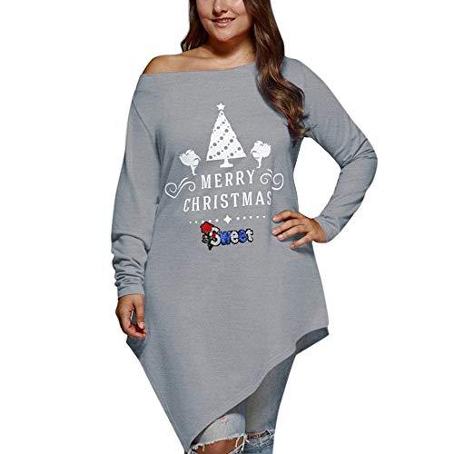 Vectry Damen Hässliche Weihnachtspullover Mode Große Größe Weihnachtsbaum Gedruckt Schulterfrei Tops Sweatshirt Mädchen Langarm Irregulär Saum Shirt Weihnachten Kostüme Ugly Christmas Sweater Sweater