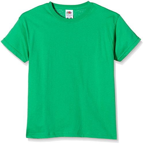 Fruit of the Loom Mädchen T-Shirt SS132B, Green (Kelly Green), Gr. 128 CM (Herstellergröße:7-8 Jahre)