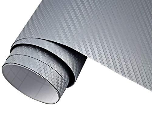 Neoxxim 4€/m² Auto Folie Carbon Folie 3D Carbonfolie Silber - 300 x 150 cm blasenfrei Klebefolie Dekor