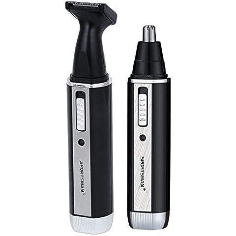 WINLINK 2 en 1 recargable impermeable de 360 grados Oído, nariz pelo Trimmer eléctrico Barba Patillas máquina de afeitar de la maquinilla de afeitar del pelo del removedor de la cara de afeitar barbero Set (2 en