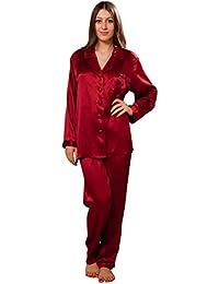 7bc736b70ab3e3 ElleSilk Seidenpyjama, 100% Seide Damenpyjama, Maulbeerseide Schlafanzug,  22 Momme