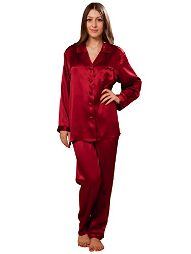 ELLESILK Pyjama-Set Seide, Damen Nachtwäsche aus 100% Maulbeerseide von 22 Momme, Hautfreundlich, Weinrot, L (Frauen Mode Seide)