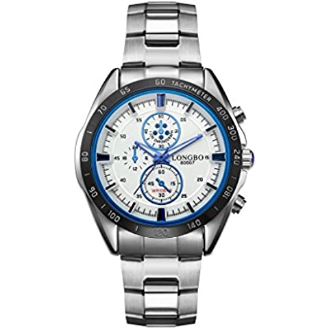 LONGBO sportiva in acciaio inox Business stile analogico al quarzo orologi da polso impermeabile orologi 80007001 - Moon Phase Guarda