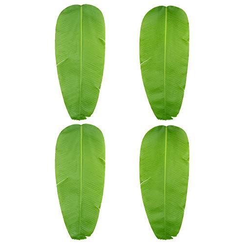 hen Pflanzen Blätter, Banana Tropischen Blättern, Palmblatt, Strand Thema Dekorationen für DIY Home Office Cafe Store Küche Party, Plastik, grün, 4er-Packung ()