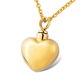 HOUSWEETY Cremation Jewellery Gold Stainless Steel Smooth Heart Urn Pendant Necklace - Memorial Ash Keepsake 15