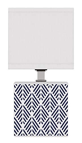 Lussiol 233764 Comodino, Lampada Decorativa, Ceramica, 40 W, Blu, L11 x H22 cm