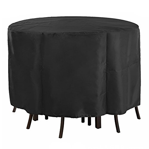 EDAHB®Housse de Table Circulaire, Housse de Meuble de Jardin en Tissu Oxford Respirante et imperméable, Ronde (128x71cm) / Ronde (185x110cm) Ronde (230x110cm) - Noire