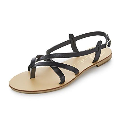 Schmick Shoes Sandalen Artemis: Damen Leder Zehentrenner Sommerschuhe Riemchensandale Flacher Absatz Handgefertigt Größe:38, Farbe:Schwarz/Natural (Sandalen Leder Schwarz Gladiator)