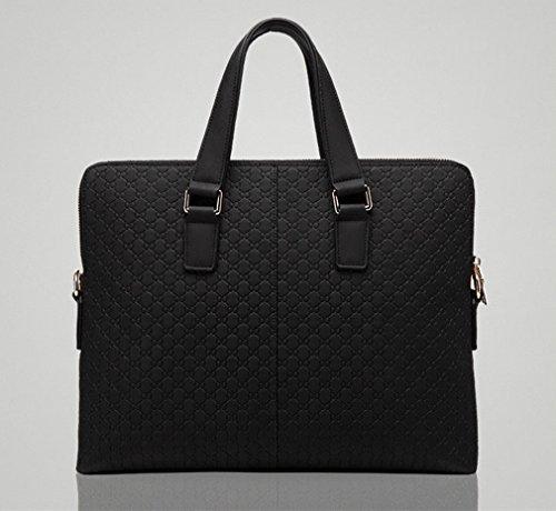 ZB Männer 'S Bag Business Bag Herren Aktenkoffer Weiche Retro Embossed Handtasche Casual Zipple Bag Schwarz