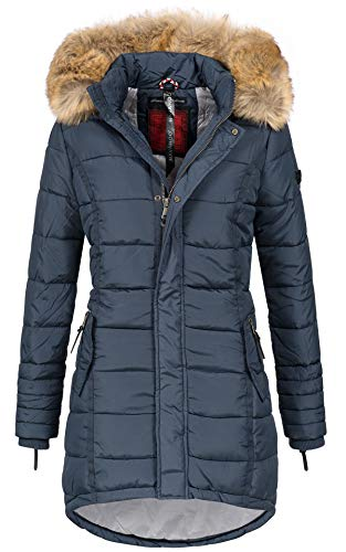 Navahoo Papaya Damen Winter Jacke Steppjacke Mantel Parka gesteppt warm B374 (S, Navy)