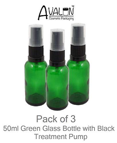 3er Pack x grün Glasflaschen 50ml mit schwarzem Lotion/Serum Pumpe Top qualität leer Durham behälter geeignet für Aromatherapie, Kunst, Basteln, Erste Hilfe, Beauty, Haut Lotion und Seren usw.