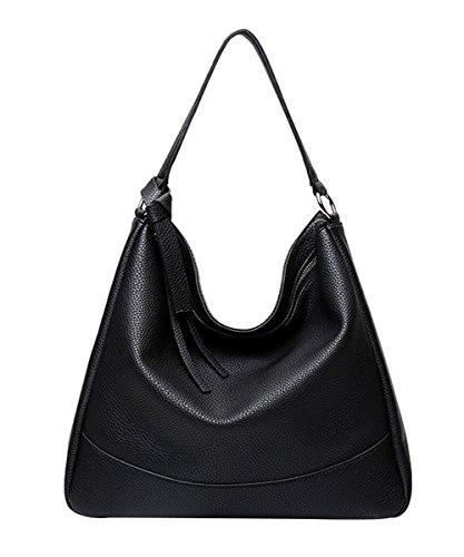 PB-SOAR Women Ladies Fashion Soft PU Leather Handbag Shoulder Bag Hobo Tote Bag Trend-Bag (Black)