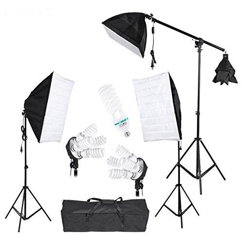 Gowe Fotostudio-Lichtzelt-Set mit Softbox-Lichtsockel, freitragender Stab, 45 W, 135 W