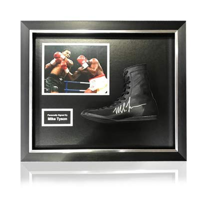 Generic Mike Tyson Handsignierter schwarzer Boxstiefel in klassischem Acrylrahmen