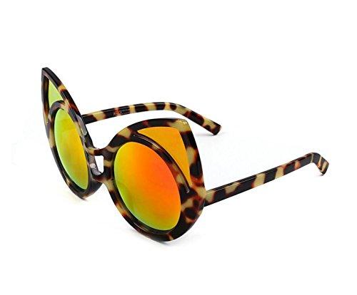 GSHGA Katzenauge-Sonnenbrille Persönlichkeit Männer Und Frauen-Sonnenbrille Reflektierende,Leopardredreflex
