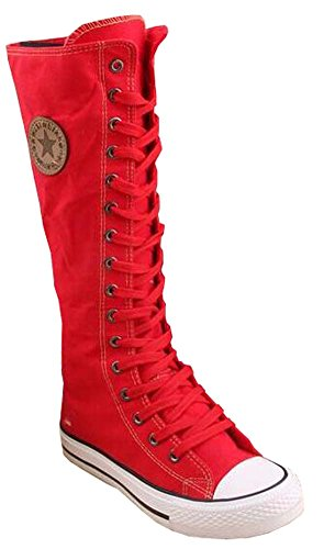 Leinwand Schuhe Sportschuhe Damen Stiefel Rot