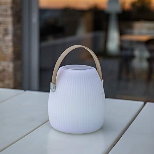 den Garten, kabellos, mit Bluetooth-Lautsprecher, Mini May Play, LED, RGB, 25 cm, Polyethylen, drehbar, Weiß und Taupe, 18 x 18 x 25 cm ()