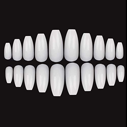 Fingernägel zum aufkleben, 600Stück Falsche Nägel, 10 Größen Falsche Nägel Tipps für DIY-Nagelkunst, Farbe Weiß (Fingernägel Weiße)