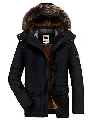 Warme Winterjacke Herren mit Kapuze Outdoor Gefüttert Baumwolle Jacke Männer Dicker Wintermantel Parka Jacke (X-Large, 03-Schwarz)