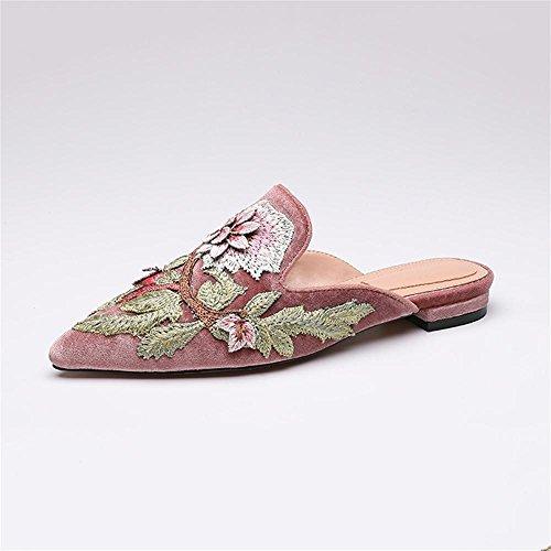 Heart&M Retro Pleuche impression bout pointu talon bas de femmes plat Sole Slippers Sandals Pink