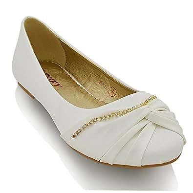 Essex Glam Damen Brautschuhe Klassische Ballerinas Flach Satin Pumps Mit Strass Hochzeit Schuhe (EU 38, WHITE SATIN)