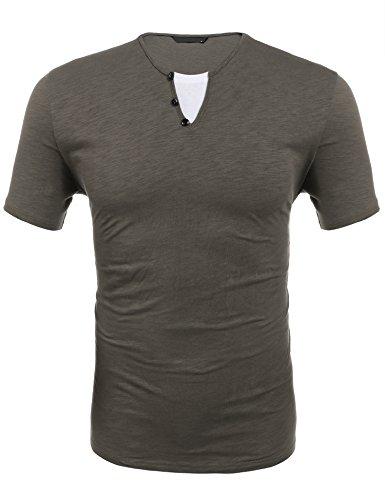 Wixens Business/Freizeithemd Herren Slim Fit Aus Baumwolle Kariert Einfarbig Langarm Button Down Knopfleiste丨grau丨l丨